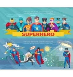 Superhero Team Banners Set vector