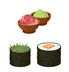 sushi and seasoning cartoon icons in set vector image