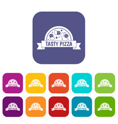 tasty pizza sign icons set flat vector image