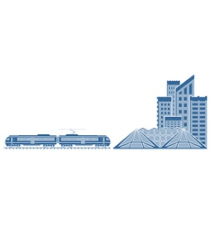 Train in a city vector