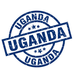 Uganda blue round grunge stamp vector