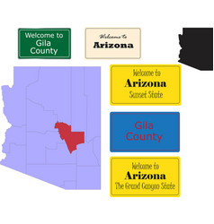 us arizona state gila county map and road sign vector image