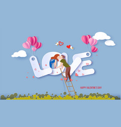 valentines day card with couple in love hearts vector image