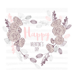valentines day hand drawn greeting card heart vector image