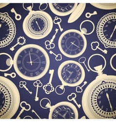 Vintage seamless pattern with clocks and keys vector image