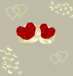 wedding rings and ruby heart vector image