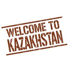 Welcome to kazakhstan stamp vector