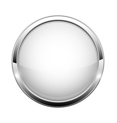 White glass button shiny round 3d web icon vector