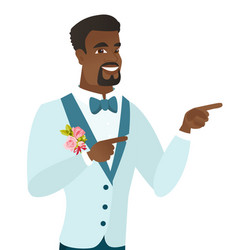 Young african-american groom pointing to the side vector