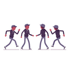 Young black man walking and running vector