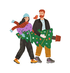 young couple carrying decorated xmas fir tree vector image