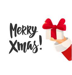 christmas card merry xmas text santa claus hand vector image vector image