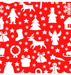 christmas seamless red vector image vector image