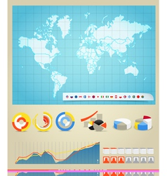 Infographic elements and the world map vector