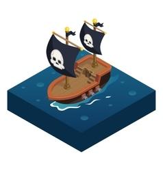 Isometric pirate ship 3d Icon symbol sea vector image vector image