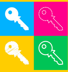 key sign four styles of icon on four vector image