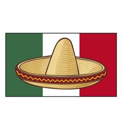 mexico flag with sombrero vector image vector image