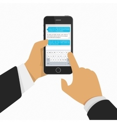 Mobile phone with keyboard in hand vector image