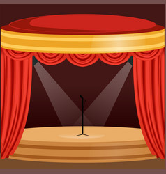 theater or music concert scene with red curtain vector image vector image
