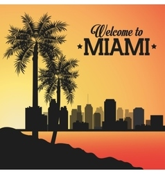 Miami florida design palm tree and city icon vector