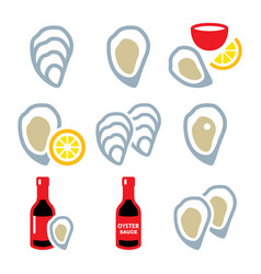 oysters shell sauce - sea food icons set vector image vector image