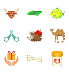 pet shop icons set cartoon style vector image vector image