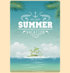 Vintage seaside view poster vector image