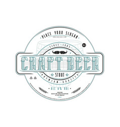 craft beer label template in vintage style vector image