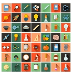 Flat sciense icons vector image