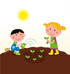 kids watering planting plant vector image