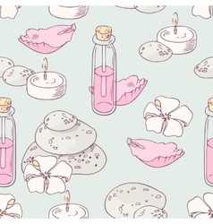 Aromatherapy and spa hand drawn seamless pattern vector image
