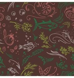 Brown sketch food pattern vector image