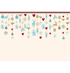 Hangigng ornaments xmas card background elements vector image vector image