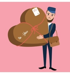 post man delivery guy bring package heart shape vector image vector image