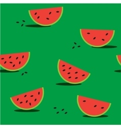 Seamless green background with red watermelon vector image
