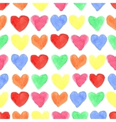 Watercolor colored hearts seamless patternBaby vector image vector image