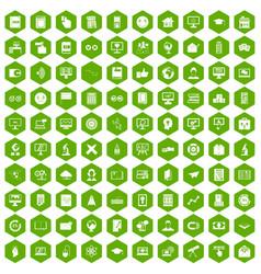 100 e-learning icons hexagon green vector