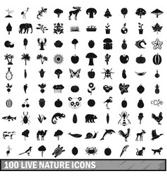100 live nature icons set in simple style vector image