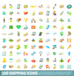 100 shipping icons set cartoon style vector image