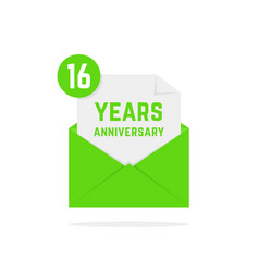 16 years anniversary icon missive in green letter vector image