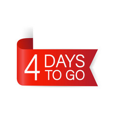4 days to go red label red web ribbon isolated vector