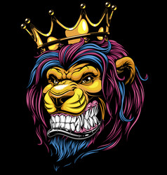 a ferocious lion in crown vector image