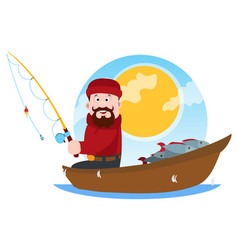 A fisherman on a wooden boat fishing a cartoon vector