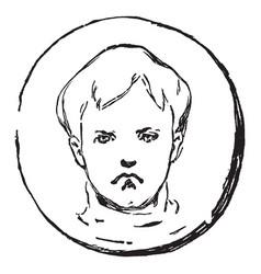 A frown sad boy face vintage engraving vector