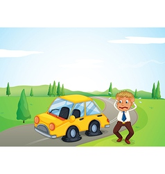 A man beside his yellow car with a flat tire vector