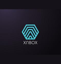 Abstract letter a logo template in hexagon vector