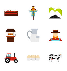 agriculture icons set flat style vector image
