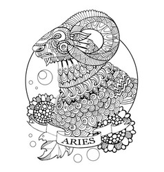 Aries zodiac sign coloring book vector