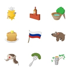 attractions russia icons set cartoon style vector image