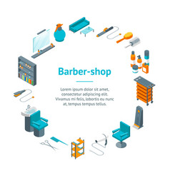 barber shop banner card circle isometric view vector image